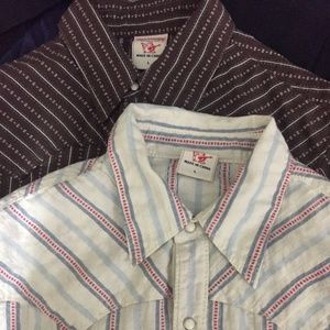 Lot of 2 True Religion Western Pearl Snap Shirts